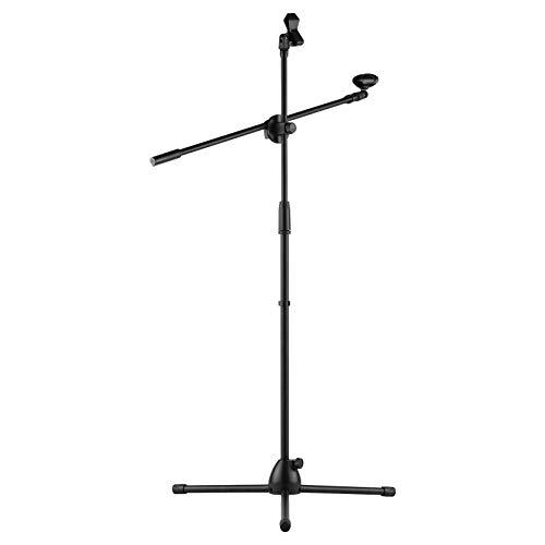Sunbaca Microfone Tripé Stand Boom Floor Model Altura ajustável Peso Leve Heavy Duty Dobrável para Mic sem fio sem fio Desempenho de palco de voz ao vivo com suportes de clipe de microfone pretos