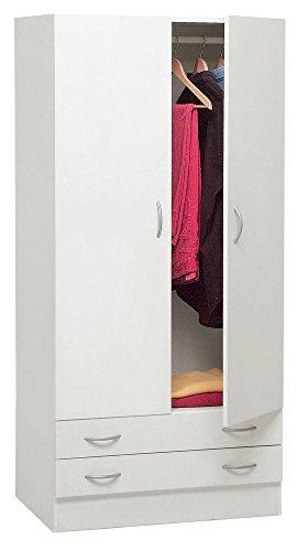Azur line Armadio Guardaroba Legno Kit Due Ante E Due Cassetti Bianco L90H180P60cm