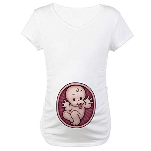 Covermason T-Shirt de Maternité Femme Maternité Grossesse Imprimé O-Neck Chemise T-Shirt à Manches Courtes Tops Enceintes Grossesse (3XL, Blanc)
