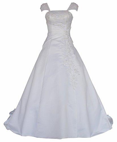 Romantic-Fashion Brautkleid Hochzeitskleid Weiß Modell W054 A-Linie Satin Stickerei Perlen Pailetten DE Größe 42