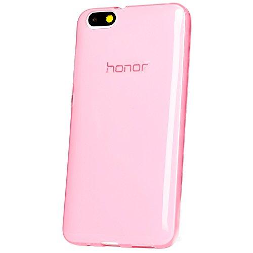 NALIA Handyhülle kompatibel mit Huawei Honor 4X, Soft Slim TPU Silikon Case Cover Hülle Crystal Schutzhülle Dünn Durchsichtig, Etui Handy-Tasche Back-Cover Phone Schutz Bumper - Transparent/Pink