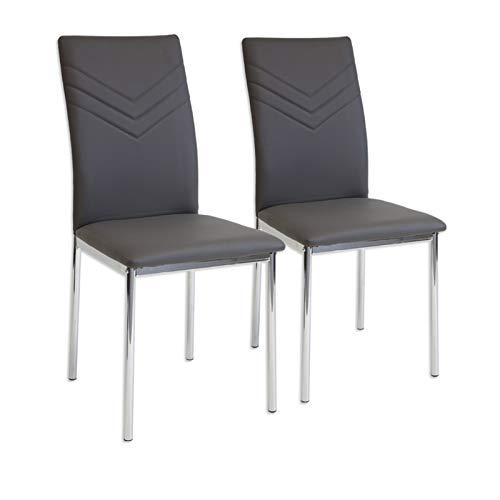Albatros 2923 Verona Set de 2 sillas de Comedor, Gris, pie de Cromo, SGS Tested