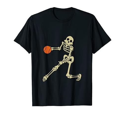 Divertido disfraz de esqueleto de jugadores de baloncesto, Halloween Camiseta