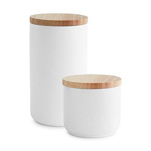 Keramik Vorratsdosen 2-tlg. Set mit Holzdeckel Sweet Scandi, er Kautschukholz-Deckel, Aufbewahrungsdosen, Frischhaltedosen