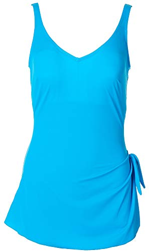 Roxanne Womens Solid Sarong One Piece Swimsuit 34 C Blue Sky