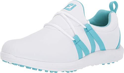 FootJoy womens Leisure Slip-on - Previous Season Style Golf Shoes, White/Cyan, 6.5 US