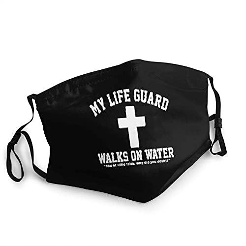 My Life Guard Walks On Water Face M-A-S-K, cómodo pasamontañas reutilizable bufanda ajustable para adultos (con 2 filtros)