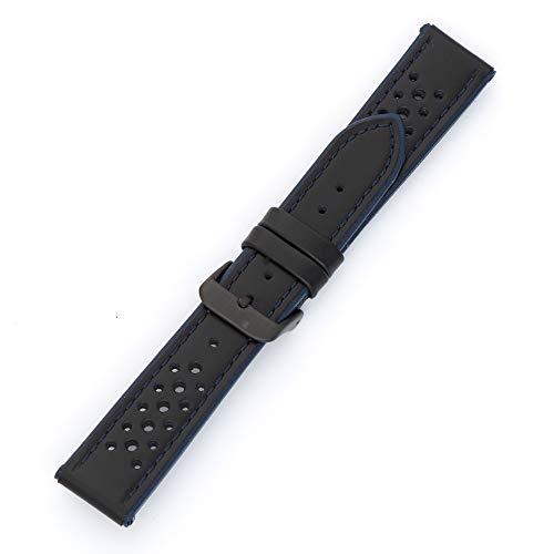 MS-755 Hadley-Roma - Correa de piel de becerro para reloj de hombre, 18 mm, color azul