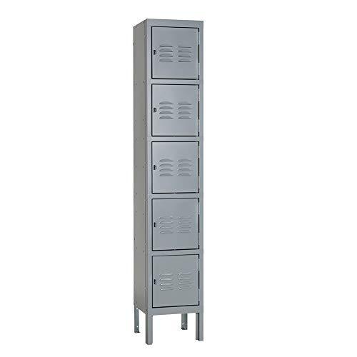 Pataku 5-Tier Metal Locker Storage Cabinet for School, Gym, Home, Office, Employees and Team Locker Rooms, 5 Doors, Gray