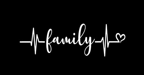 Makarios LLC Family Heartbeat MKR Decal Vinyl Sticker |Cars Trucks Vans Walls Laptop|White|5.5 x 1.7 in|MKR1152