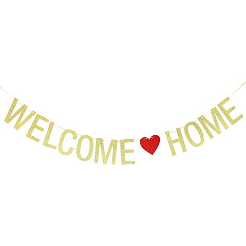 Welcome Home Banner - Military Navy/Army Decoration, Family Party Supplies, Housewarming Party Sign (Gold)