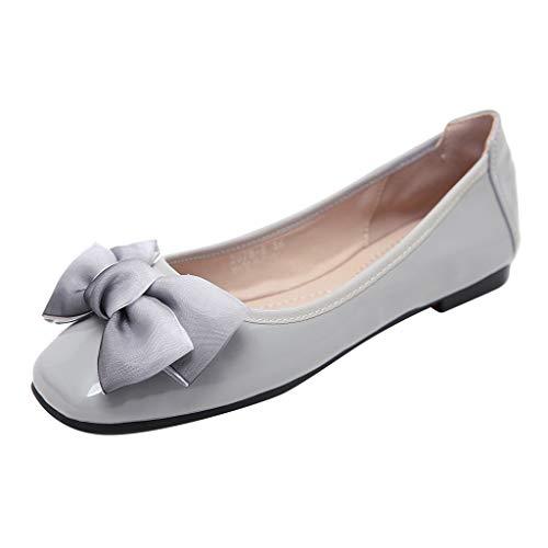 WOZOW Chaussures Souliers Simples pour Femmes, à La Bouche Peu Profonde Décontractées Plates(41,Gris)