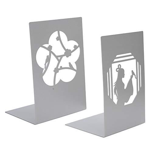 HERCHR Extremos de Libro para decoración del hogar, sujetalibros de Metal, Soporte para estantería de Libros de Oficina en el hogar, 4.3 x 6.7 Pulgadas(#1)
