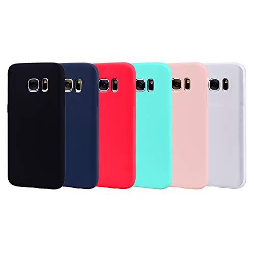 6X Funda Samsung Galaxy S7 Edge Silicona Carcasa Suave Flexible TPU Gel CoverTp Ultra Fina Delgado Case Cubierta Protectora Caja para Samsung Galaxy S7 Edge Negro Azul Rojo Verde Rosa Blanco