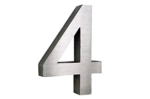 Hausnummer 4 Edelstahl 3D Design Arial rostfrei witterungsbeständig 20cm Höhe gebürsteter Edelstahl V2A inkl. Montagematerial Alle Hausnummern erhältlich: 0 1 2 3 4 5 6 7 8 9 A B C D