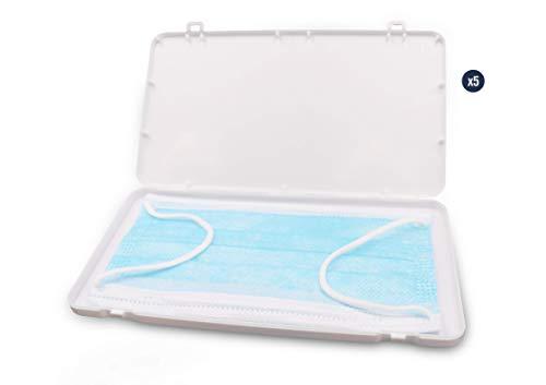 KMINA PRO - Maskenbox (5 Stück), Maskenbox für Mundschutz, Masken Aufbewahrung Box, Masken Aufbewahrungstasche, Mundschutz Behälter, Mundschutz Transportbox, Maskenbox flach, Farbe Weiß