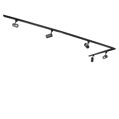 QAZQA - Modern Modernes Schienensystem | Spotlight | Deckenspot | Deckenstrahler | Strahler mit 5-flammig Spot | Spotlight | Deckenspot | Deckenstrahler | Strahler | Lampe | Leuchtes 1-phasig schwarz