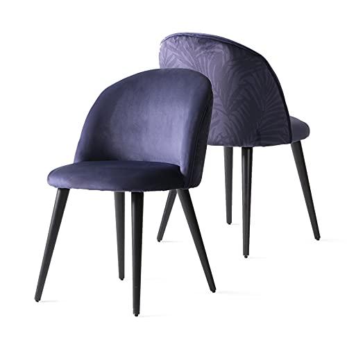 Esstisch Esszimmerstühle Weicher Samt Marine 2er Set Holz Beine Schreibtischstuhl ohne Rollen Polsterstühl Schminktisch Wohnzimmer Essstühle Küchenstühle mit Rückenlehne Dining Chair bis 150 kg