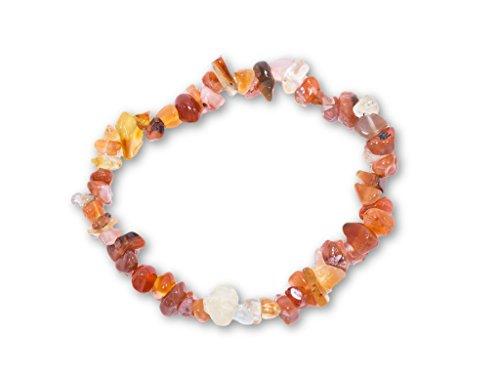 Taddart Minerals Pulsera de piedras preciosas naturales de cornalina de color naranja y blanco montada sobre hilo elástico de nailon. Hecho a mano.