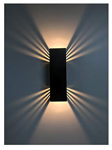 SpiceLED applique | BlackEdition | ShineLED-14 | Interruttore | 2x7W bianco caldo | Effetto ombra | Lampada da parete a LED ad alta potenza dimmerabile
