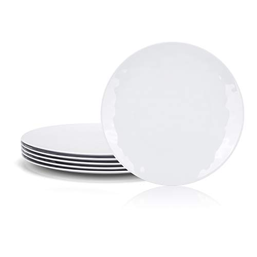 6-Piece 100% Melamine Dinner/Lunch Plate Set,10inch Round Melamine Salad Plates Picnic Plates for Holiday Home Party,Break-resistant and Lightweight,Hammered Finish,BPA Free (White Color)