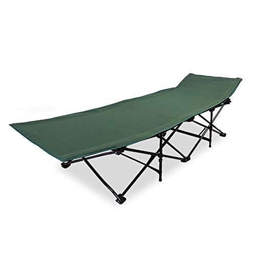LRXGOODLUKE Schweres Klappbett, Campingbett im Freien, geräumiger, seitliches Schlafen oder Umdrehen, ideal für die Mittagspause,ArmyGreen