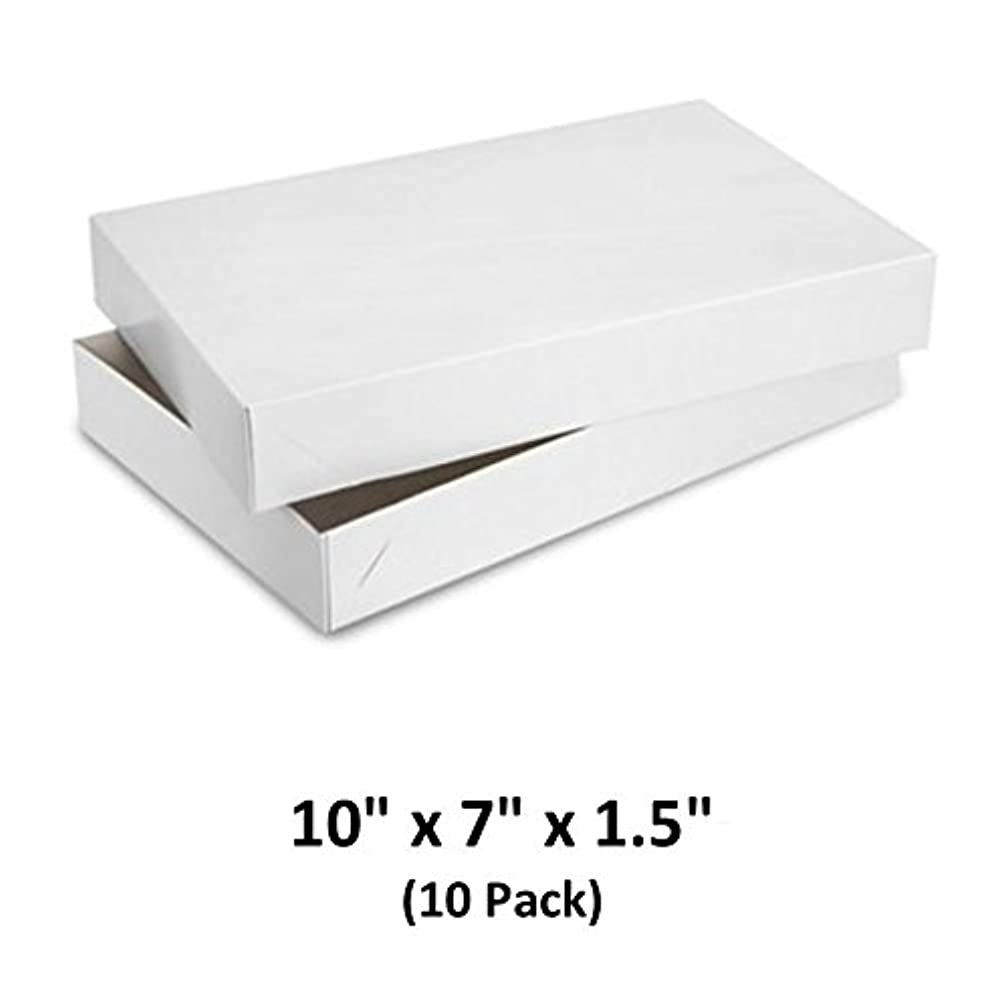 White Gloss Cardboard Apparel Decorative Gift Boxes with Lids for Clothing and Gifts, 10x7x1.5 (10 Pack) | MagicWater Supply