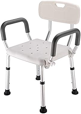 Dining Chair Aluminum Alloy Bath Chair with Backrest for Elderly/Pregnant Woman Dining Chair