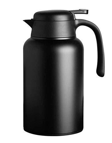 Luvan Thermoskanne 304 Edelstahl Doppelwand Vakuum Isolierte Kaffee Topf Kaffee Thermos, Kaffee Plunger, Saft/Milch/Tee Isolierung Topf (schwarz, 2.0L) (Schwarz)