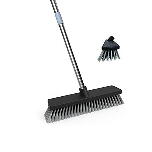 浴室掃除用ブラシ 清掃用品 デッキブラシ 浴室掃除用ブラシ タイルブラシ 伸縮タイプ ベランダ・玄関のための床ブラシ 庭園にも適用 (ブラック)