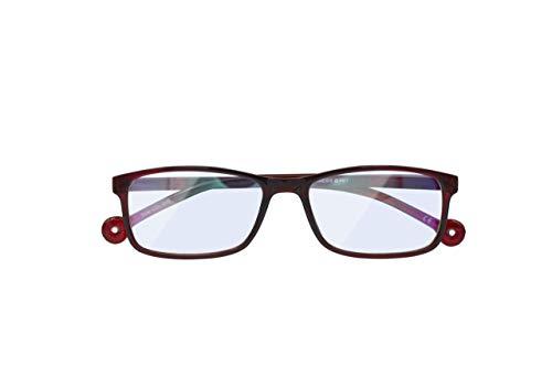Gafas de Lectura Anti-luz Azul +2.00 Dioptrías - Gafas Eco-Friendy Rectangulares y Anti-reflejantes - Color Ruby Volcano