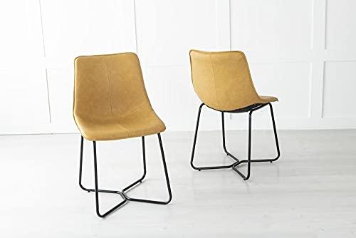 Urban Deco Juego de 2 sillas de comedor de piel sintética con diseño de pedernal