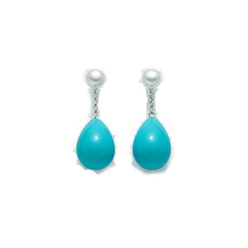 Miluna - Pendientes de plata 925con turquesas en forma de gota y perla.