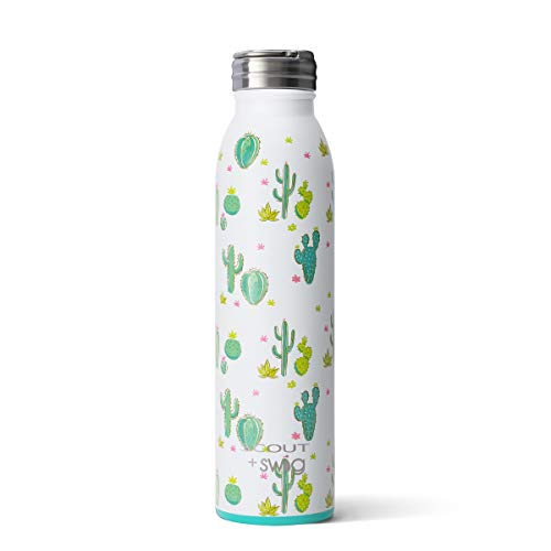 Swig Life 20oz Triple Insulated Stainless Steel Water Bottle with Ring Flip Handle, Dishwasher Safe, Double Wall, Vacuum Sealed Reusable Water Tumbler in SCOUT Cactus Makes Perfect