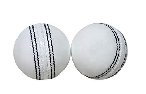 KSZ TRADERS Cricket Leather Balls (Set of 2) A Grade Handstitched White