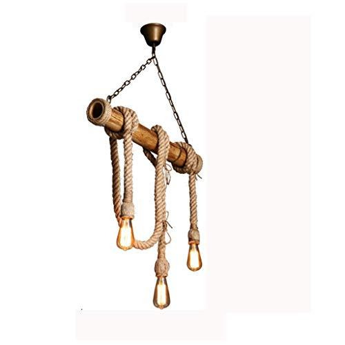 miwaimao Lámpara de araña vintage con cuerda de bambú y cuerda de cáñamo, estilo rústico