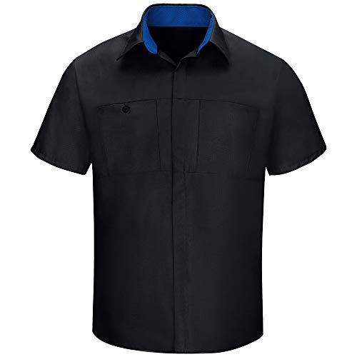 Red Kap Men's Short Sleeve Performance Plus Shop Shirt with OilBlok Technology, Black with Royal Blue Mesh, X-Large