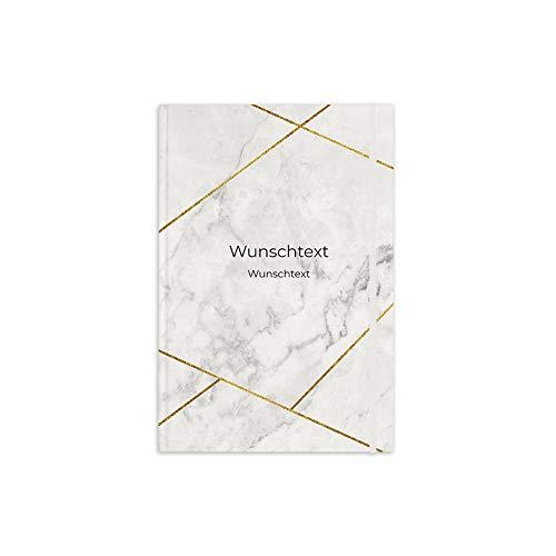 printplanet® - Notizbuch mit Name oder Text selbst gestalten - A5 Tagebuch personalisieren und bedrucken - Motiv: Marmor Gold