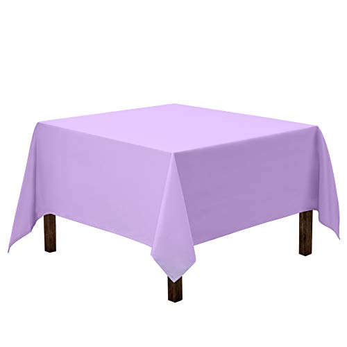 Gee Di Moda Square Tablecloth - 85 x 85 Inch - Lavender Square Table Cloth for Square or Round Tables in Washable Polyester - Great for Buffet Table, Parties, Holiday Dinner, Wedding & More