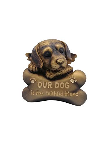 Comfy Hour Pet in Loving Memory Collection 5' Sleeping Dog Angel On Bone Figurine - in Memory of My Best Friend Bereavement, Bronze Copper, Polyresin