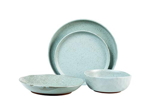 Sango's Kaya Blue Dinnerware Set with Added Color Flakes, 16-Pieces with 4 Place Settings, Ceramic