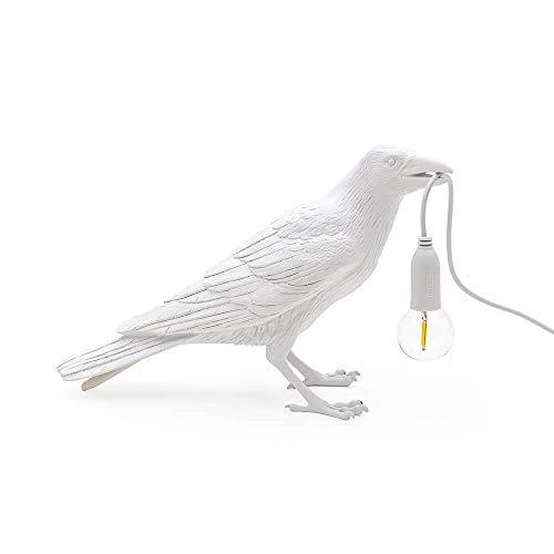SELETTI Bird Lamp Waiting Lampe de Table Corbeau Blanc