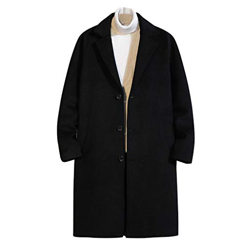 Easytoy Men's Autumn Winter Solid Casual Fashion Cardigan French Woolen Coat Business Jacket Trench Topcoat Blouse Long Coat Black