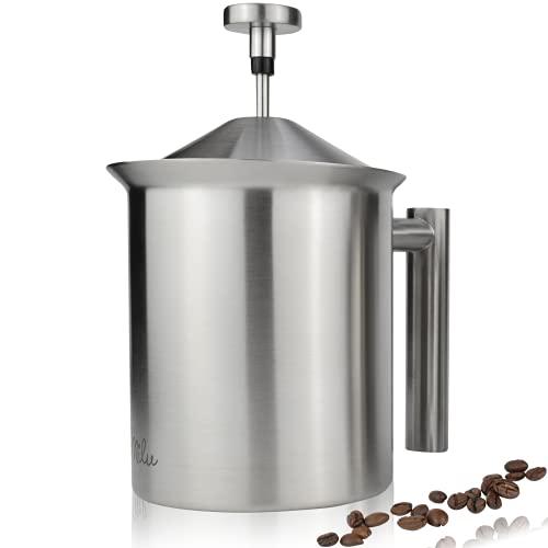 Milu Milchaufschäumer manuell | 400ml, 800ml | Edelstahl Hand Milchschäumer für Milch Cappuccino, Kaffee, Latte, Heiße Schokolade (Edelstahl, 800ml)