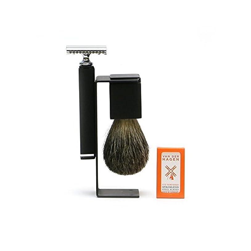 在庫パッケージ備品VANDERHAGEN(米) ウェットシェービングセット スリーク 両刃 髭剃り 替刃5枚付