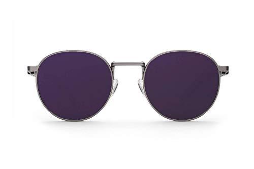 Gafas de sol redondas de madera con lunas púrpuras de Take a Shot