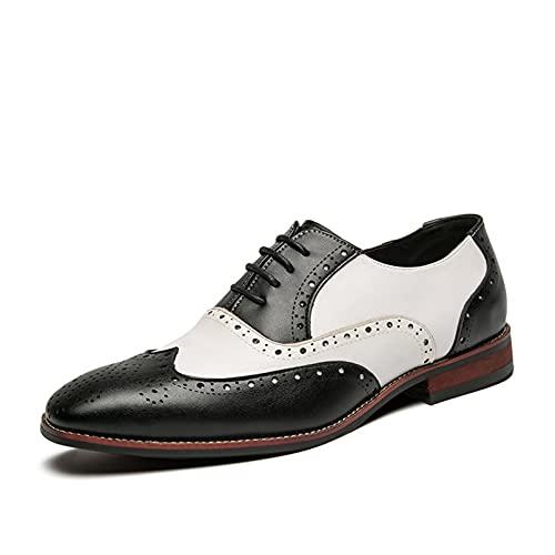 Zapatos Oxford para Hombre, Elegantes, Puntiagudos, Brogue, Patchwork, Zapatos de Cuero Transpirables, Zapatos Formales Ligeros con Cordones Bajos para Banquetes