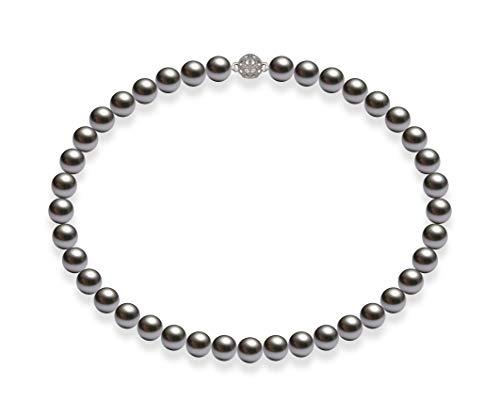 Schmuckwilli Südsee Tahiti Damen Muschelkernperlen Perlenkette Grau Magnetverschluß echte Muschel 50cm dmk1015-50 (10mm)