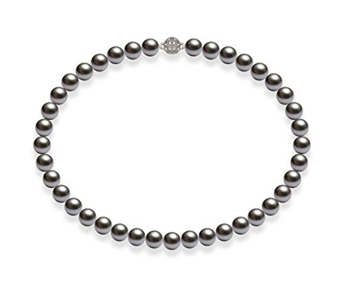 Schmuckwilli Damen Muschelkernperlen Perlenkette Grau Magnetverschluß echte Muschel 42cm dmk1015-42 (10mm)