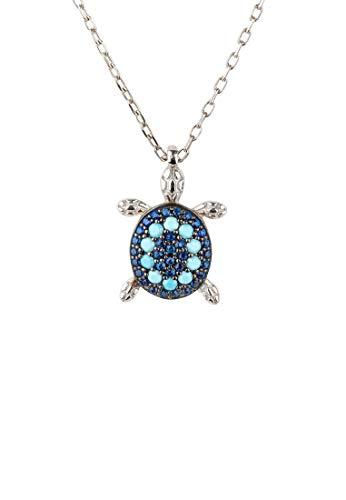 LATELITA Turtle Turquoise Blue Pendant Necklace Silver